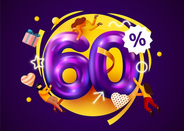 Banner de oferta especial de descuento de porcentaje de mega venta con promoción de personas voladoras