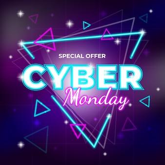 Banner de oferta especial futurista retro lunes cibernético