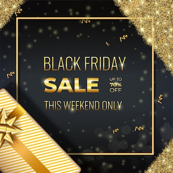 Banner de oferta especial golden black friday con regalos realistas y destellos dorados brillantes en dark