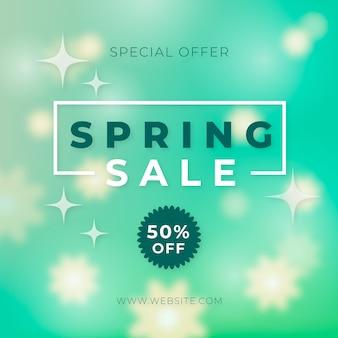 Banner de oferta especial de primavera borrosa