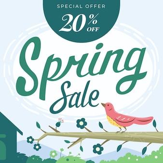 Banner de oferta especial de venta de primavera de diseño plano