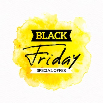 Banner de oferta especial de viernes negro de manchas de acuarela