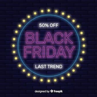 Banner de oferta especial de viernes negro de neón