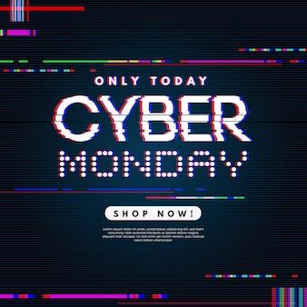 Banner de oferta de glitch cyber monday