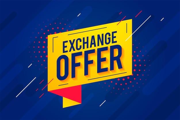 Banner de oferta de intercambio en estilo moderno