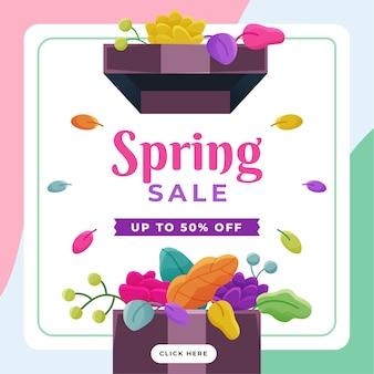 Banner de oferta de primavera de diseño plano
