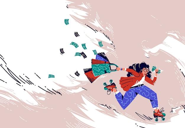 Banner de oferta de venta con chica corriendo en patines con bolsas de compras y billetes de dinero voladores. oferta especial para tienda minorista con mujer apresurada adicta a las compras, cartel publicitario de arte lineal