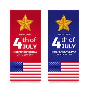 Banner de oferta de venta de flyer día de la independencia americana 4 de julio con bandera y estrella