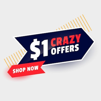 Banner de oferta de venta loca de dólar uno
