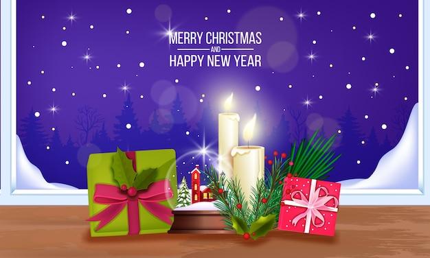 Banner de oferta de venta de navidad de invierno con ramas de abeto, plantas de hoja perenne, cajas de regalo, decoraciones navideñas. fondo de vacaciones de año nuevo con hojas de poinsettia, regalos, estrellas. tarjeta de venta de compras navideñas