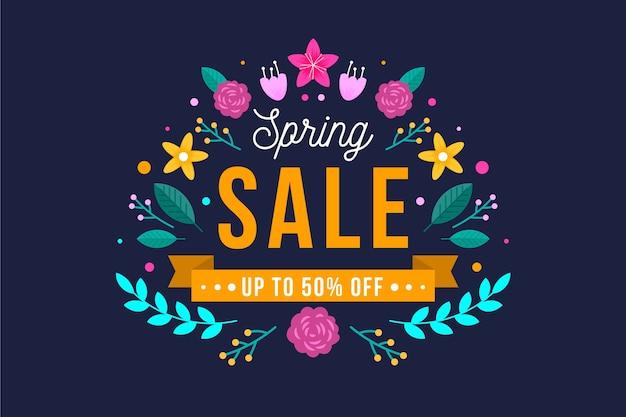 Banner de oferta de venta de primavera de diseño plano