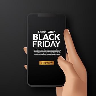 Banner de oferta de venta de viernes negro con teléfono inteligente de mano
