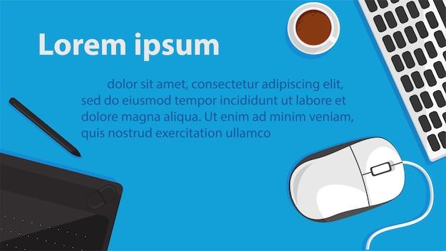 Banner de office y elementos sobre computadora