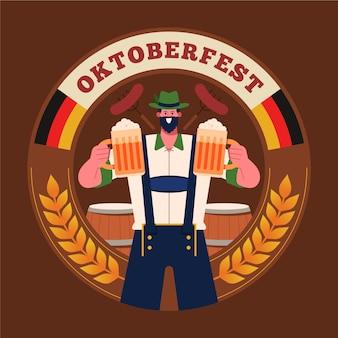 Banner de oktoberfest de diseño plano con hombre