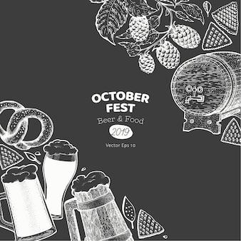 Banner de oktoberfest. ilustraciones dibujadas a mano en la pizarra.