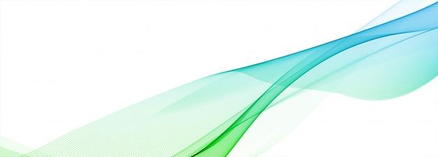 Banner de onda colorida que fluye abstracta sobre fondo blanco