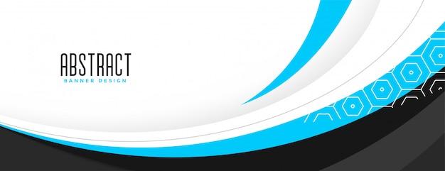 Banner de onda profesional azul con espacio de texto