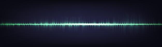 Banner de onda de sonido digital de luz verde, tecnología y onda de terremoto
