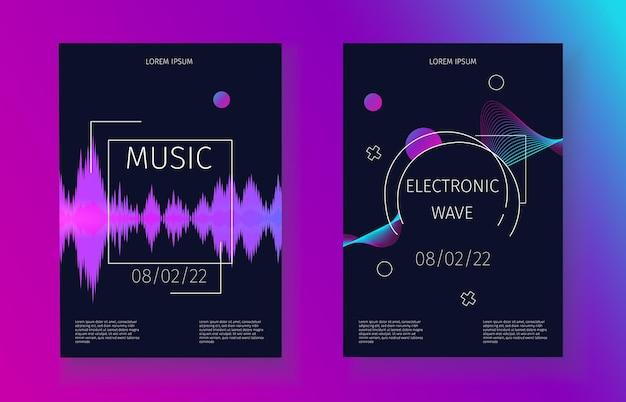 Banner de ondas de sonido música banda sonora vibración electrónica conjunto de invitación a fiesta futurista