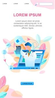 Banner online médico escribe tratamiento de prescripción