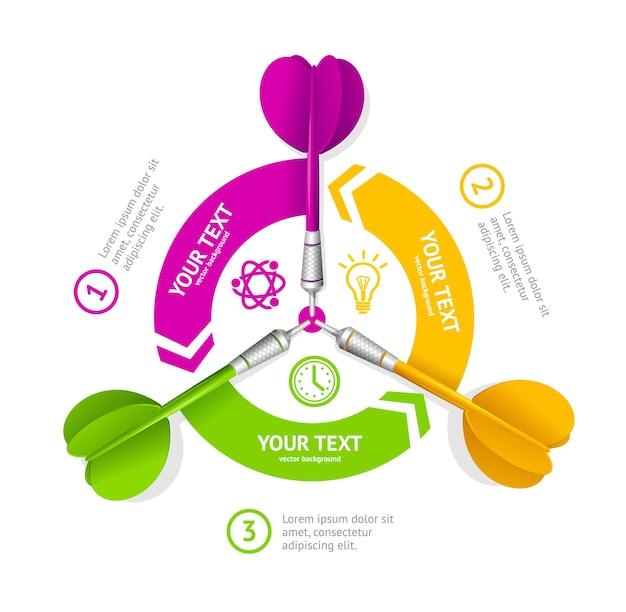 Banner de opción de dardos. el logro de los objetivos comerciales.