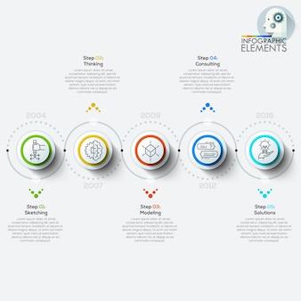 Banner de opciones de estilo de origami de círculo empresarial moderno