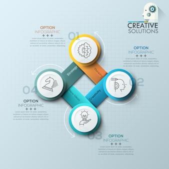 Banner de opciones de infografía espiral moderno