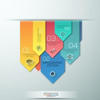Banner de opciones de infografía de estilo de flecha de papel moderno