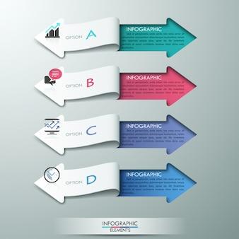 Banner de opciones de infografía de estilo moderno de flecha de papel