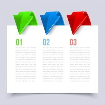 Banner de opciones de infografía con flechas 3d. ilustración.