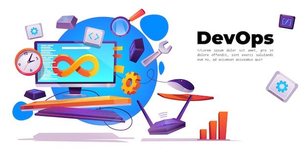 Banner de operaciones de desarrollo, concepto devops