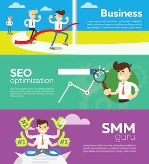 Banner de optimización de sitios web smm y seo