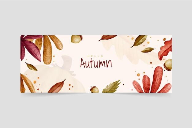 Banner de otoño acuarela con hojas