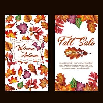 Banner del otoño de la acuarela