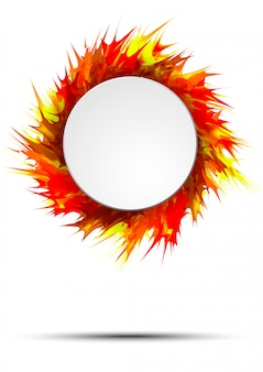 Banner de otoño brillante y colorido con marco redondo sobre salpicaduras de pintura vívida