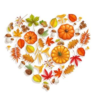 Banner de otoño con follaje otoñal de arce, roble, olmo, calabaza, castaño, hojas de rhus typhina, setas y bayas de otoño para tienda de publicidad.