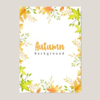 Banner de otoño con fondo colorido de hojas de otoño