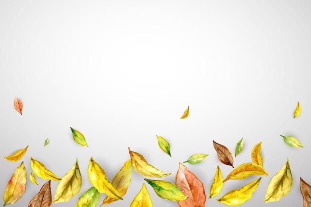 Banner de otoño con hojas amarillas marrones