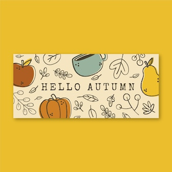 Banner de otoño horizontal plano dibujado a mano