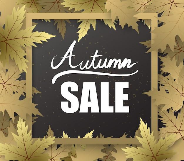 Banner de otoño con marco de hoja y texto de escritura de mano