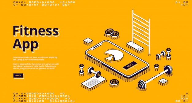 Banner de página de aterrizaje isométrica de entrenamiento de aplicaciones de fitness