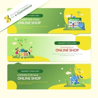 Banner de página de destino para comercio electrónico en 3 conjuntos de paquetes