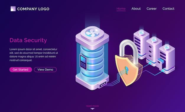 Banner de página de destino isométrica de seguridad de datos cibernéticos