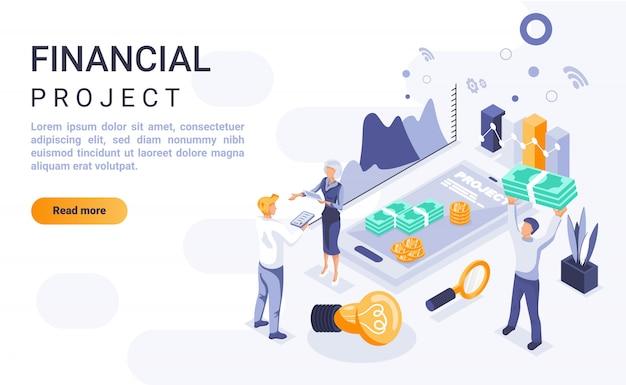 Banner de página de destino de proyecto financiero con ilustración isométrica