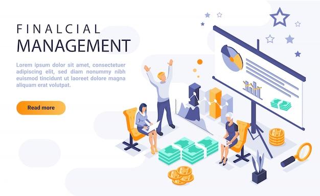 Banner de página de inicio de gestión financiera con ilustración isométrica