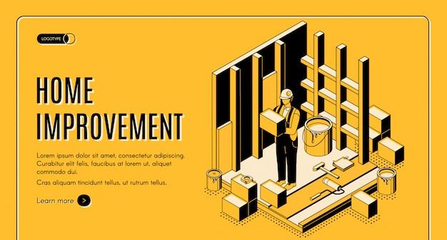Banner de página de inicio isométrica de mejoras para el hogar
