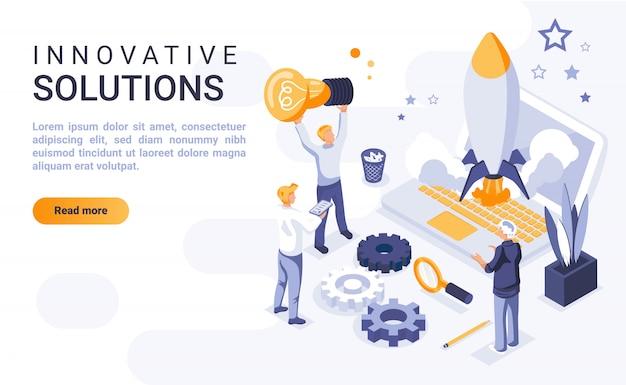 Banner de página de inicio de soluciones innovadoras con ilustración isométrica