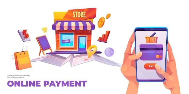 Banner de pago en línea, tarjeta de crédito de teléfono inteligente