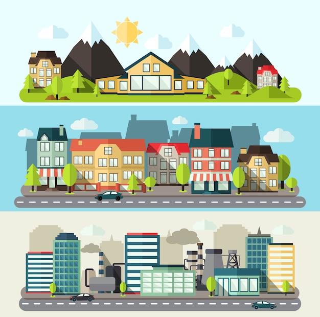 Banner de paisaje de ciudad plana