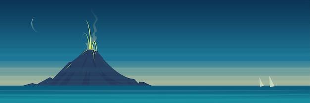 Banner de paisaje de erupción de volcán de mar